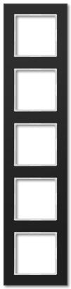 Рамка JUNG A Creation пятипостовая, черное стекло